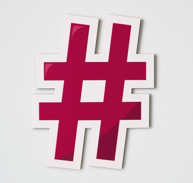 Icono de medios digitales en línea hashtag