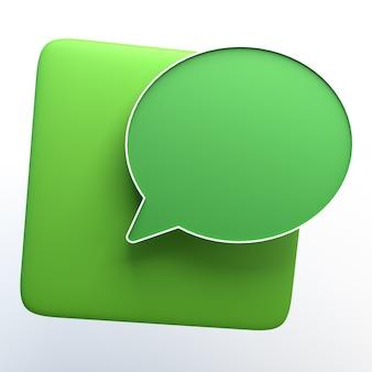 Icono de mensaje aislado en blanco. ilustración 3d. app. Foto Premium