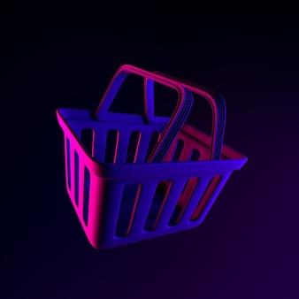 Icono de neón de la cesta de la compra del supermercado. elemento de interfaz de interfaz de usuario de renderizado 3d. símbolo oscuro que brilla intensamente.