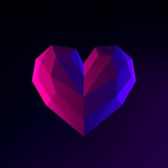 Icono de neón de corazón de baja poli. elemento de interfaz de interfaz de usuario de renderizado 3d. símbolo oscuro que brilla intensamente.