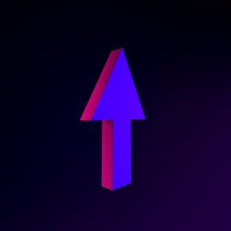 Icono de neón de flecha hacia arriba. elemento de interfaz de interfaz de usuario de renderizado 3d. símbolo oscuro que brilla intensamente.