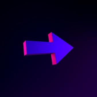 Icono de neón de flecha derecha. elemento de interfaz de interfaz de usuario de renderizado 3d. símbolo oscuro que brilla intensamente.