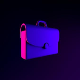 Icono de neón de maletín. elemento de interfaz de interfaz de usuario de renderizado 3d. símbolo oscuro que brilla intensamente.