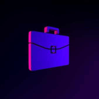 Icono de neón de maletín de negocios. elemento de interfaz de interfaz de usuario de renderizado 3d. símbolo oscuro que brilla intensamente.