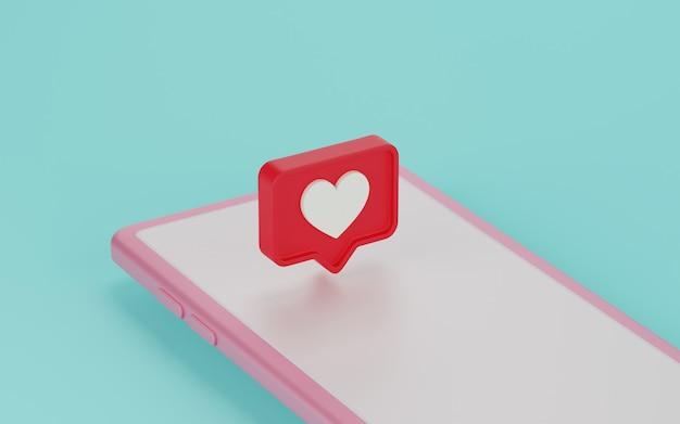 Icono de notificaciones de redes sociales en pantalla. render 3d.