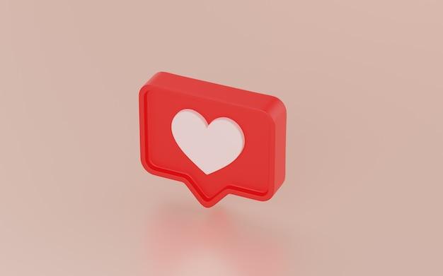 Icono de notificaciones de redes sociales, render 3d