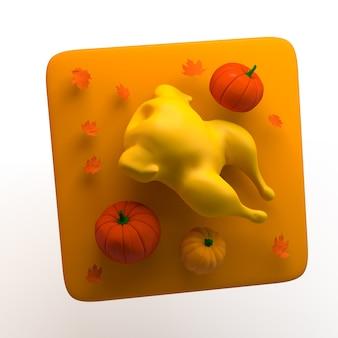 Icono de otoño con pavo de acción de gracias y calabazas aisladas sobre fondo blanco. app. ilustración 3d.