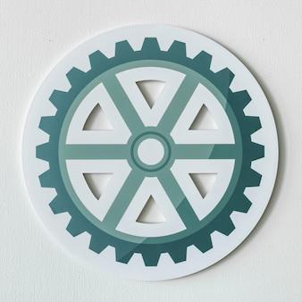 Icono de papel del icono de la rueda dentada