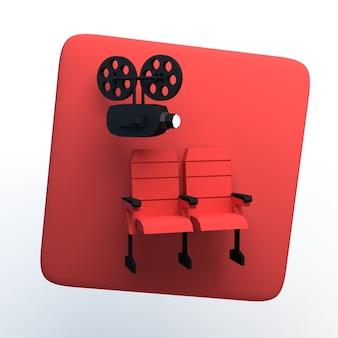 Icono de películas con proyector y asientos de cine sobre fondo blanco aislado. ilustración 3d. app. Foto Premium