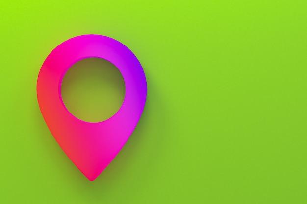 Icono de pin logo mínimo renderizado 3d