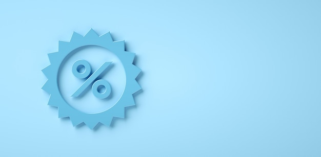 Icono de porcentaje sobre fondo azul con espacio de copia