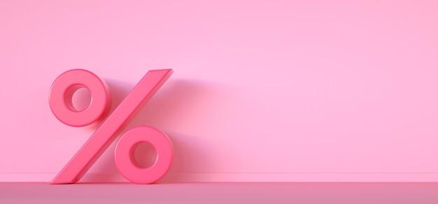 Icono de porcentaje sobre fondo rosa con espacio de copia