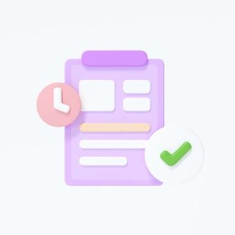 Icono de portapapeles con una lista de verificación sobre fondo blanco aislado. ilustración de render 3d.