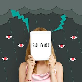 Icono de problema de comunidad de comportamiento de intimidación