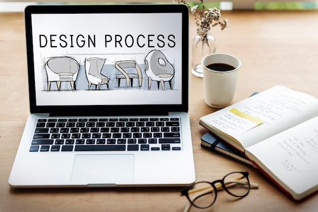 Icono de proceso de diseño de creación de ideas