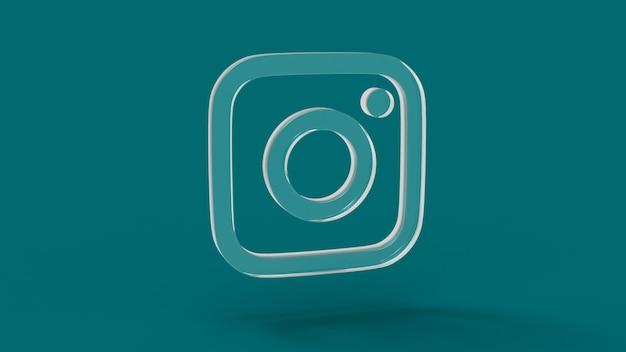 Icono de redes sociales de instagram con render 3d de cristal con fondo de color