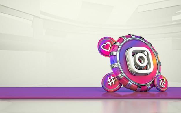 Icono de redes sociales de representación 3d de instagram fondo aislado
