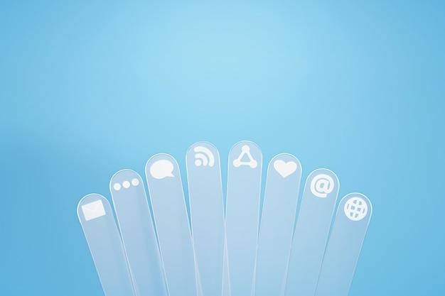Icono de redes sociales sobre fondo azul