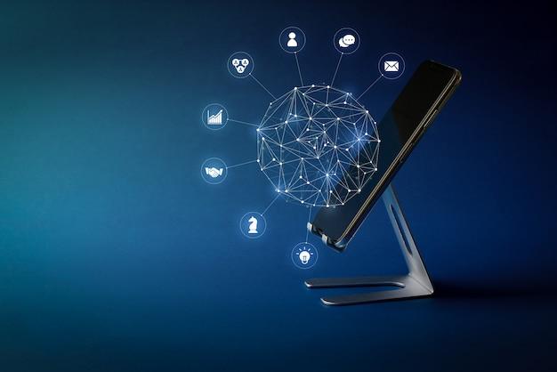 Icono de redes sociales en teléfonos inteligentes para el concepto de compra en línea