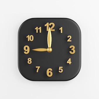Icono de reloj de pared moderno dorado. representación 3d del botón de tecla cuadrado negro, elemento de interfaz de usuario ux de interfaz.