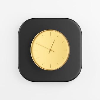 Icono de reloj redondo de pared de oro. representación 3d del botón de tecla cuadrado negro, elemento de interfaz de usuario ux de interfaz.