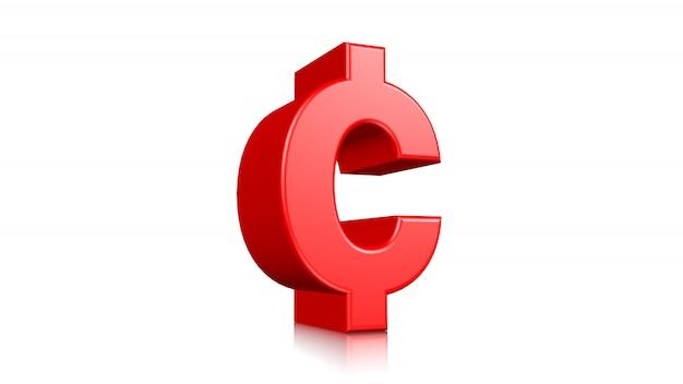 Icono rojo del centavo 3d aislado en el fondo blanco. 3d prestados