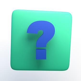 Icono con signo de interrogación sobre fondo blanco aislado. ilustración 3d. app. Foto Premium