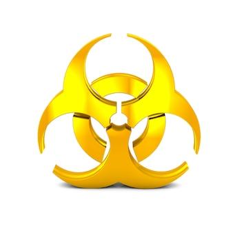 Icono de signo de riesgo biológico vista lateral izquierda representación 3d