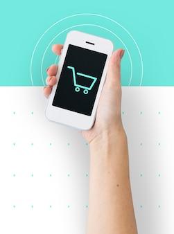 Icono de símbolo gráfico de comercio de carro de compras