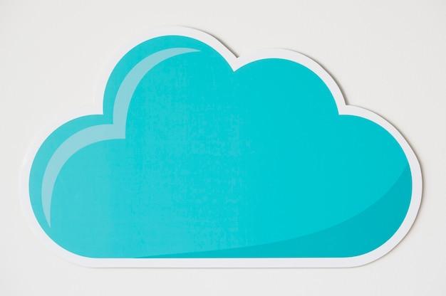 Icono de símbolo de tecnología de nube azul