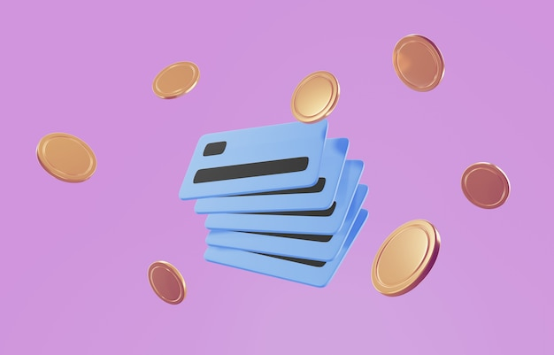 Icono de tarjeta de crédito 3d para pagos sin contacto, concepto de pago en línea.