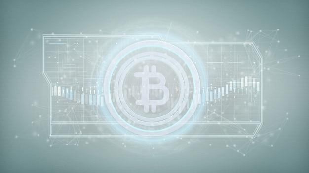 Icono de tecnología de bitcoin en un círculo aislado en una representación 3d