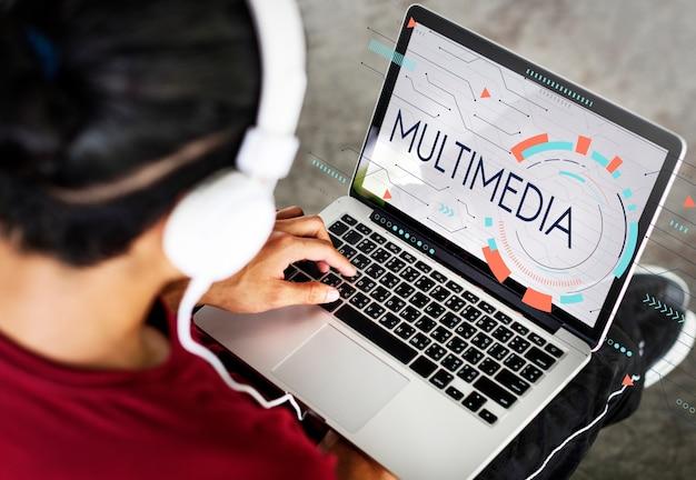 Icono de tecnología de comunicación de entretenimiento multimedia