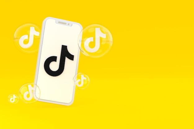 Icono de tiktok en la pantalla del teléfono inteligente o teléfono móvil 3d render sobre fondo amarillo