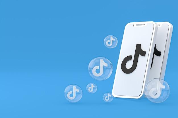 Icono de tiktok en la pantalla del teléfono inteligente o teléfono móvil 3d render sobre fondo azul.
