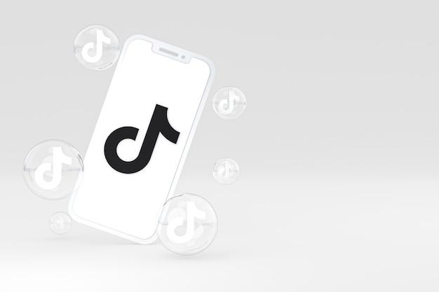 Icono de tiktok en la pantalla del teléfono inteligente o teléfono móvil 3d render sobre fondo blanco.