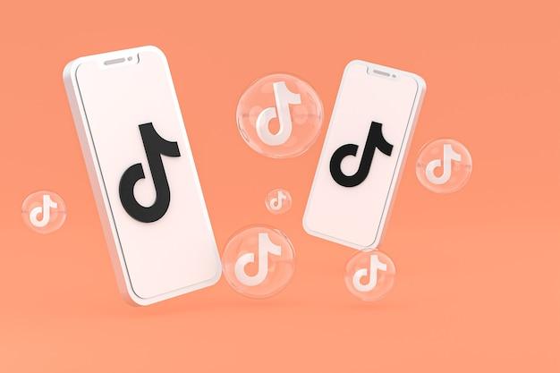 Icono de tiktok en la pantalla del teléfono inteligente o teléfono móvil 3d render sobre fondo naranja