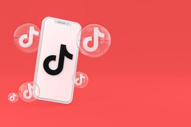 Icono de tiktok en la pantalla del teléfono inteligente o teléfono móvil 3d render sobre fondo rojo.