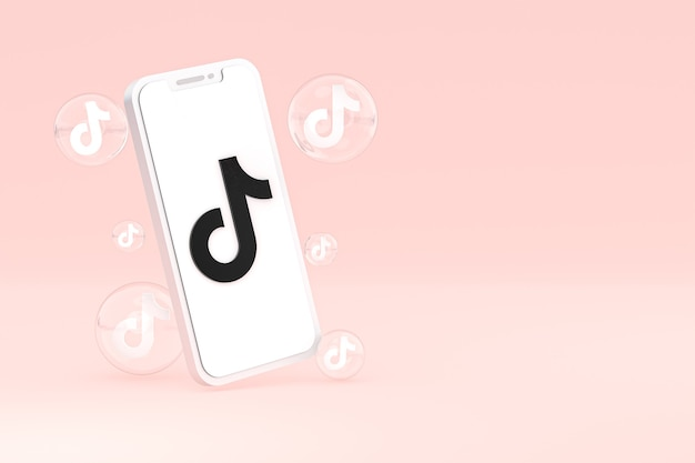 Icono de tiktok en la pantalla del teléfono inteligente o teléfono móvil 3d render sobre fondo rosa