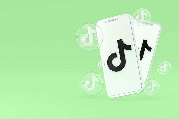 Icono de tiktok en la pantalla del teléfono inteligente o teléfono móvil 3d render sobre fondo verde