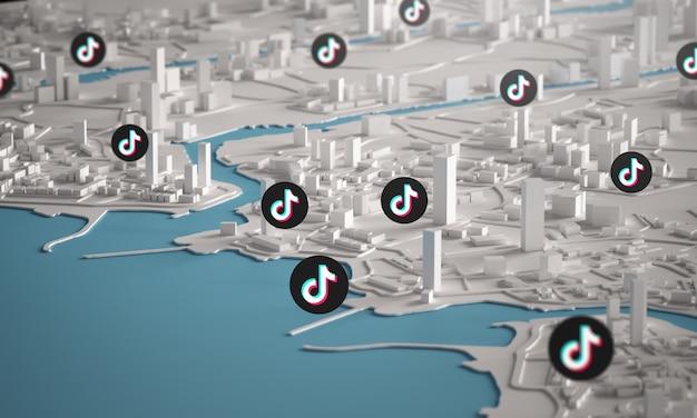 Icono tiktok sobre vista aérea de edificios de la ciudad representación 3d