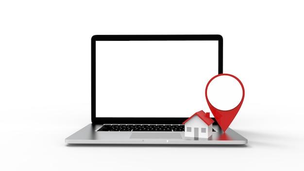 Icono de ubicación y casa puesta en portátil moderno aislado sobre fondo blanco. ilustración 3d.