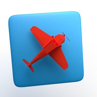 Icono de viaje con avión sobre fondo blanco aislado. ilustración 3d. app. Foto Premium
