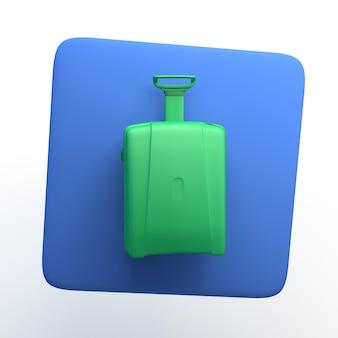 Icono de viaje con maleta sobre fondo blanco aislado. ilustración 3d. app. Foto Premium