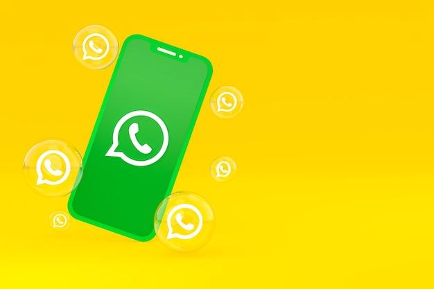 Icono de whatapps en la pantalla del teléfono inteligente o teléfono móvil 3d render sobre fondo amarillo