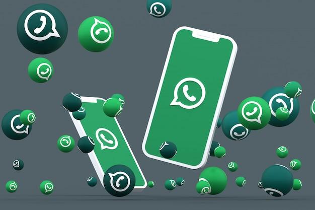 Icono de whatsapp en la pantalla del teléfono inteligente o móvil y reacciones de whatsapp