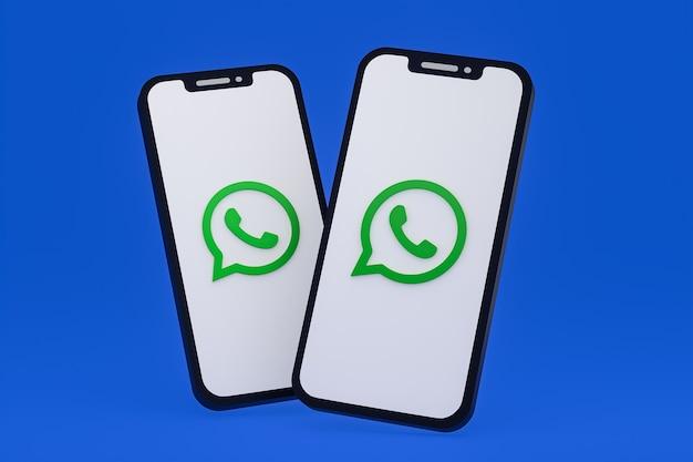 Icono de whatsapp en la pantalla del teléfono inteligente o teléfono móvil 3d render
