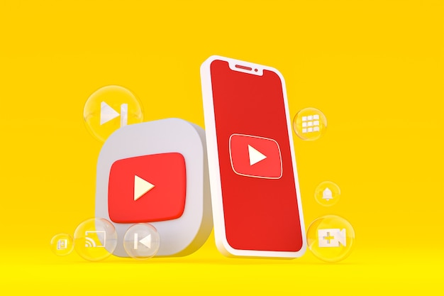 Icono de youtube en la pantalla del teléfono inteligente o teléfono móvil 3d render sobre fondo amarillo