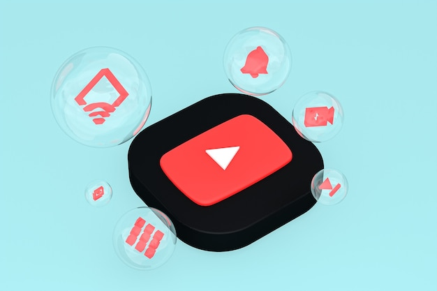 Icono de youtube en la pantalla del teléfono inteligente o teléfono móvil 3d render sobre fondo azul.