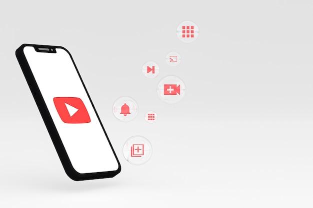 Icono de youtube en la pantalla del teléfono inteligente o teléfono móvil 3d render sobre fondo blanco.